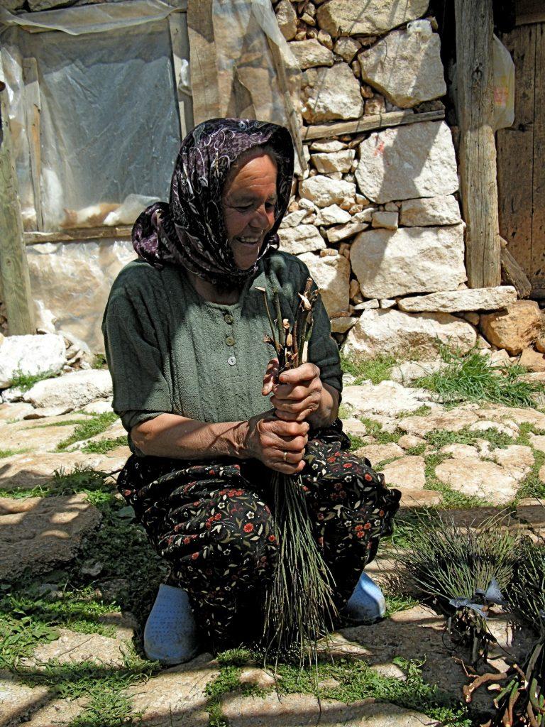 Hüseyin's Wife Making Brooms