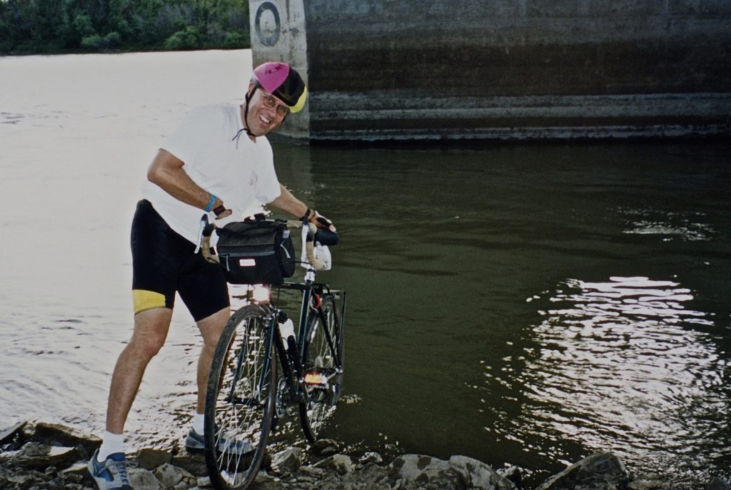 July 22, 2000. Dipping the rear wheel in the Missouri River.